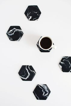 Black Marble Hexagon