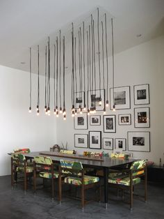 dining rooms, hanging lights, interior, photo walls, light fixtures, lamp, lighting ideas, hous, design