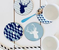 hook, geometric prints, blue, colors, deer heads, graphic color, graphics, modern homes, color coaster