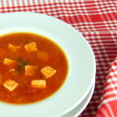 Salmon Soup w/Tomato & Dill, I think I would like this better with broken cured salmon w/dollop of sour cream heavy on the dill!