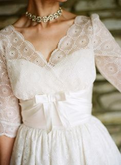 vintage-style wedding gown designed by bride // photo by StewartLeishman.com