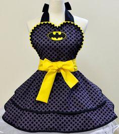 polka dotted batman apron OH MY GOSH OH MY GOSH