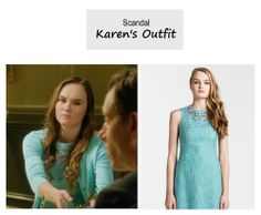 "On the blog: Karen Grant's (Madeline Carroll) blue tweed dress with embellished neckline | Scandal - ""Mama Said Knock You Out"" (Ep. 315) #tvstyle #tvfashion #outfits #fashion #FirstKids"