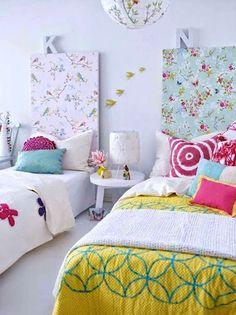 DIY WallpaperHeadboad for Kids via Christina Mella