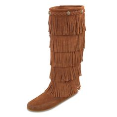 Minnetonka Womens 5 Layer Fringe Boots - Brown Suede