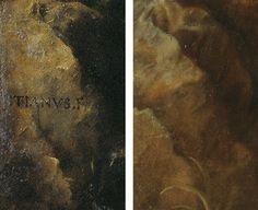 Diferencia nº 5 entre el original de Tiziano y la copia de Rubens: LA ROCA CON LA FIRMA. Del post http://harteconhache.blogspot.com.es/2013/07/las-siete-diferencias-entre-tiziano-y.html