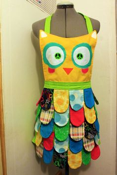SALE //Sewing PATTERN // Nerdy // Classic // Rainbow Owl Apron //Adult size instructions. $10,00, via Etsy.