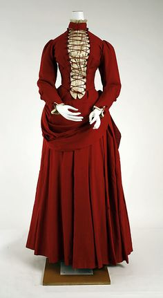 Dress 1887, American, Made of silk and wool