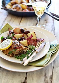 greek lemon oregano chicken skillet dinner