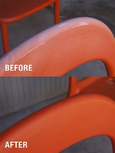 How to bring life back into some plastic & fiberglass chairs - Clean well & exfoliate with a Scotchbrite.  Saturate a rag with Penetrol & wipe liberally on the chair.  Rewipe if necessary & let dry.  Protect with 303 Aerospace Protectant.