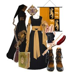 Hufflepuff ren fest outfit - Love the gown and the hooded coat! I think I know what I'd like to wear to the SCA >.>