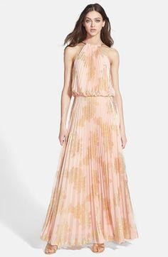Foiled pleat blouson dress