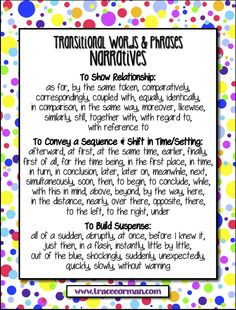Narratives Transitions Anchor Chart - Common Core