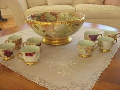 Antique Limoges France Porcelain Punch Bowl Set ~Grapes~