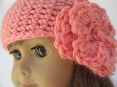 American Girl Doll Clothes Crocheted Beanie Cap with Flower. Make one like it with the cloche pattern, just don't increase for the brim?