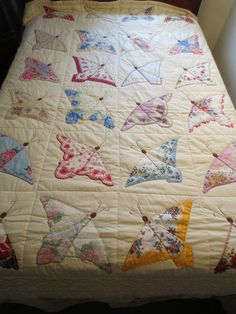 Vintage Handmade handkerchief Butterfly Quilt...now this is a way to use my handkerchiefs that I could live with