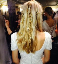 baby's breath in bohemian bridal hairstyle