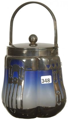 "7"" BLUE ART GLASS FOUR SIDED ART GLASS BISCUIT JAR"
