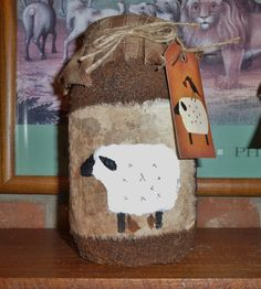 Primitive Grungy Sheep Quart Jar
