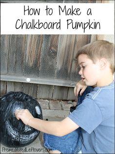 How to make a chalkboard pumpkin for kids.