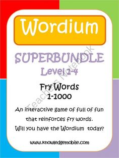 Wordium - A Fry Words Game - Super Bundle - Level 1-4 - Words 1-1000 from Knowledge Mobile on TeachersNotebook.com -  (60 pages)  - Super Bundle!!!!  This super bundle contains all 4 levels of the Wordium game! Priced at only $10, buying the bundle will save you a bundle, with a discount of over 15%.
