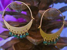Emerald Dangle Cresent moon shaped Hoop earrings