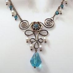 Wire Work Necklace Set - Fleur De Lis Wire Work - Swarovski Crystal Slider Beads - Aqua Crystals - White Rice Pearls