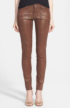 Free shipping and returns on Paige Denim 'Edgemont' Zip Detail Coated Ultra Skinny Jeans (Sienna Silk Coating) at Nordstrom.com.