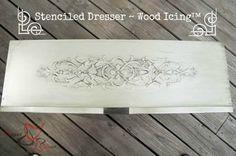Stenciled Dresser ~ Wood Icing-Tutorial on how to make a dresser look wood carved via Designed Decor | Royal Design Studio
