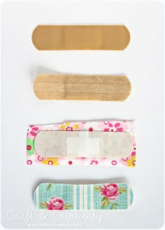 """GREAT DIY Bandaids!  Use Xyron to liven up the drab """"Skin"""" colored bandage!  Even better to do for the grandkids since they all like different stuff now."""
