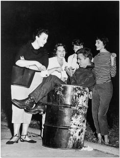 james dean signing autographs in a trash can