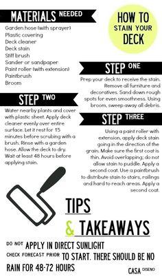 Casa Basics: How to Stain a Deck #homeimprovement #deck #outdoor http://www.westtexasexteriors.com/