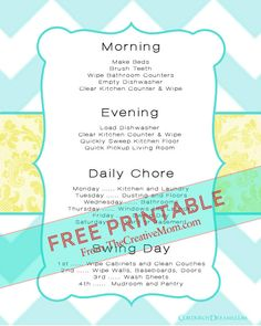 Free Printable Chore Charts (for kids and adults) | The Creative Mom