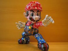 geek, recycled cans, can art, tin cans, video games, artist, super mario, sculptur, aluminum cans