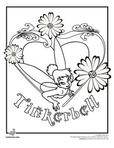 Tinkerbell Coloring Pages to Print Tinkerbell and Flowers Coloring Page – Cartoon Jr.