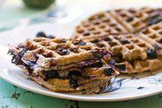 Blueberry Oatmeal Waffles (vegan)