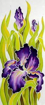 Pruple Irises(left), Silk painting-Varvara Harmon