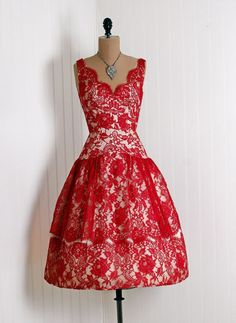 Gorgeous 1950's cream-colored taffeta and red lace overlay cocktail/party dress