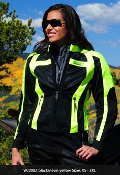 Motorcycle gear for women.   Nice jacket.