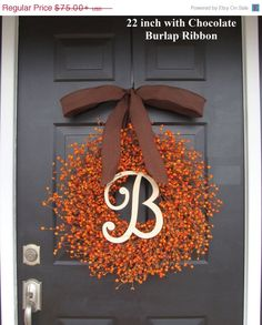 Fall Berry Wreath- Thanksgiving Wreath- Berry Fall Wreath with Burlap Ribbon- Hostess Gift - Pumpkin, XXL 18-22 inch Thanksgiving Decor on Etsy, $67.50