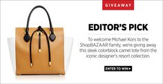 GIVEAWAY! Sign up at Bazaar.com/michaelkors to win this colorblock Michael Kors tote!! #ShopBAZAAR