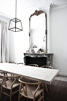 mirrors above the fireplace
