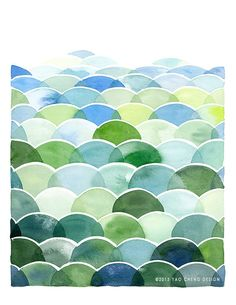 Field and Sky in Blue and Green Watercolor Art by YaoChengDesign, $12.00 @Etsy