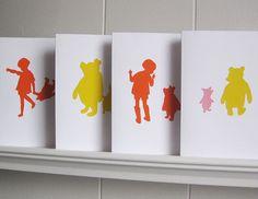 Winnie the Pooh Cards Ed 3  Handcut Paper Set of 4 by valeriejauma