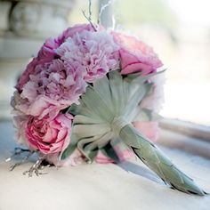 BOUQUET WRAP: bouquet handle covered in silver sword protea leaves