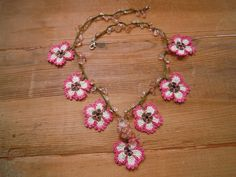 short necklace with pink and white crocheted by PashaBodrum