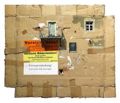 """German artist Evol creates multi-layered stencil paintings of cityscapes and urban environments on found cardboard. The artist carefully selects materials with a weathered appearance to use as his canvases incorporating torn edges, dents, tape fragments, box markings and exposed corrugated textures. Evol explains, """"clean surfaces don't speak to me, so recording these marks is a process of visually remembering the charm of a place that will soon be painted over."""""""