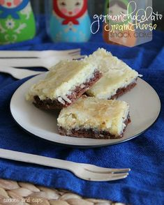 German Chocolate Cream Cheese Snack Cake (made with a cake mix).