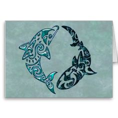 Tribal dolphin and shark. This would make a sweet tattoo!. also, it looks like a pisces sign