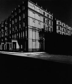 'Bayswater Houses lit by Moonlight' - buildings by moonlight during the blackout. During the war Bill  Brandt was commissioned to produce a major photographic inventory of the capital's important buildings. The work was carried out during the blackout without flash.